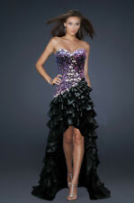 ROCK THE CARPET! BLACK PURPLE BEADED FORMAL/EVENING/PROM/BALL GOWN HIGH-LOW HEM