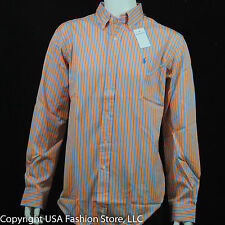 Ralph Lauren Men's Shirts Classic Fit Plaids&Checks Light Orange NWT