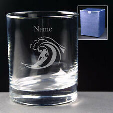 PERSONALISED SURFER SURFING GLASS ENGRAVED Choice of 8oz, 10oz or Hi-ball NEW