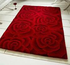 Red Modern Luxury Wool Rug With Large Flowers Roses Design Thick Dense Pile