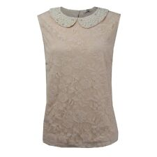 LADIES NUDE CREAM PEARL VINTAGE LACE BLOUSE PETER-PAN COLLAR TOP RRP £35.00