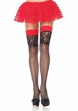 Women's Hosiery Black Red Jacquard Lace Top Industrial Net Thigh Highs Stockings