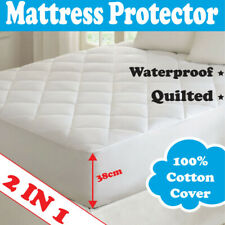 2 IN 1 - WATERPROOF & QUILTED fully Fitted Mattress Protector NEW – ALL SIZES