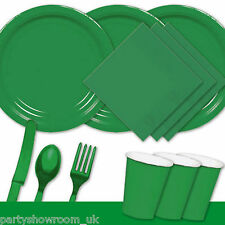 Festive Green Tableware Party Table Cover Napkins Cups Cutlery Plates PS