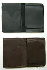 Made in USA Genuine Leather Mens Money Clip Wallet Card Case Pick Brown or Black