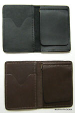 Made in USA Genuine Leather Mens Money Clip Wallet Card Case Brown or Black