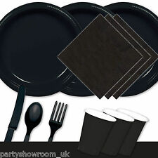 Wedding Black Tableware Party Table Cover Napkins Cups Bowls Cutlery Plates PS