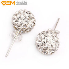 Pretty White CZ Crystal Pave Beads Clay Disco Ball Beads Silver Stud Earrings
