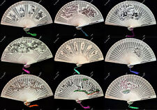 Chinese Traditional Handmade Sandalwood Fan Folding Hollow out Design Tassel Fan