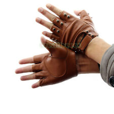 Unisex Leather Vintage Studded Motorcycle Riding Sports Rivets Fingerless Gloves