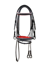 LEATHER BRIDLE BLACK COLOR, RED PADDED WITH RUBBER GRIP REIN IN FULL, COB & PONY