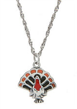 STERLING SILVER TURKEY WITH ENAMEL CHARM WITH THIN SINGAPORE NECKLACE