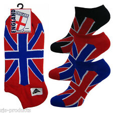 3 PAIRS OF MENS UNION JACK TRAINER/ANKLE SOCKS GB FITS SIZE 6 TO 11 UK COTTON
