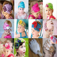 Baby Vintage Headband flower Feather Pad prop hair Accessorie 10color choices