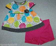 Aqua Pink Toddler Dress FLORAL Polka Dots w Ruffled Shorts FISHER PRICE 12m 18m