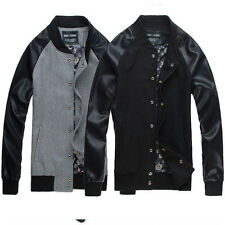Classic Mens Slim Fit Baseball Jackets Blazer PU-leather Sleeve College Coats