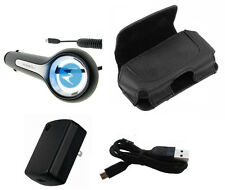 Leather Case+OEM Motorola Wall Adapter+12V Car Charger+USB Verizon Droid Phones