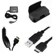 Vehicle Adapter + USB Data Cable + Home Charger + Leather Case Pouch for Samsung