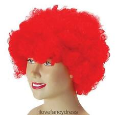 RED CURLY AFRO WIG FANCY DRESS CLOWN HAIR MENS LADIES COSTUME ACCESSORY UNISEX