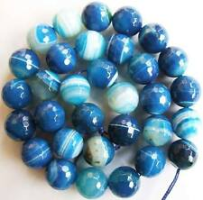 4mm6mm8mm10mm12mm14mmFaceted Stripe Blue Agate Round Loose Beads 15''New