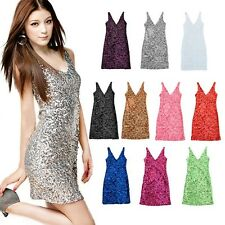 Bling Glitter V-Neck Bodycon Clubwear Party Focus Prom Cocktail Homecoming Dress