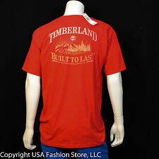 Timberland Men's Short Sleeve Tshirt Back Graphic Red NWT