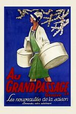 Fashion Lady Hat Shopping Au Grand Passage Geneve Vintage Repro Poster FREE S/H