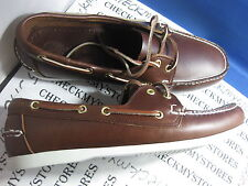 NIB ISLAND SURF Dixon Boat Shoe BROWN GENUINE LEATHER MEN'S SHOES