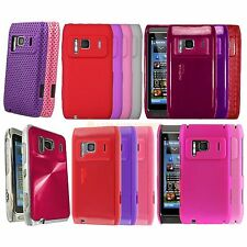 Silicone Hydro Gel TPU Circle Hard Hybrid Disc Leather Case Cover For Nokia N8