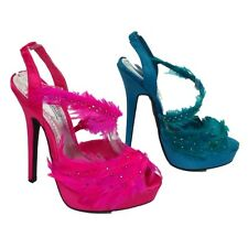 WOMENS TURQUOISE or PINK FEATHER PROM PARTY STRAPPY EVENING SANDALS SIZE UK 3-8