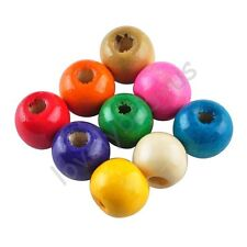 100 Pcs Colorful Round Wood Spacer Loose Beads Charms Jewelry Accessories 10 mm