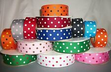 "U PICK COLOR 5 YDS 1.5"" POLKA DOT GROSGRAIN RIBBON 4 HAIRBOWS HAIR BOW SCRAPBOOK"