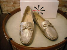 Isaac Mizrahi Alison Gold Python Embossed Leather Moccasins NEW