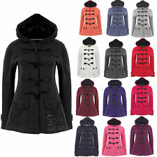 LADIES WOMENS DUFFLE TOGGLE TRENCH POCKET HOODED COAT JACKET WINTER COATS