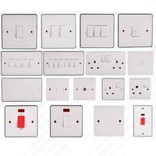 white finish electric light switch socket electrical wall plug 10A 13A switches