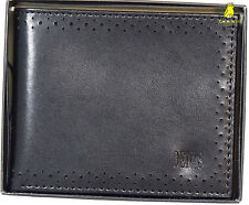 New DENTS Men's Coated Black Leather Bifold Wallet Card Pockets Gift Box BNWT