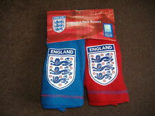 BOYS ENGLAND BOXER SHORTS 2 PACK BLUE RED AGES 5 6 7 8 9 10 11 12 FREE POSTAGE