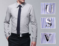 Novelty Personalized Stainless Stee Silver Initial Letter Men Shirt Cufflinks