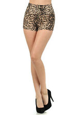 Womens New Leopard Print High Waist Fashion Trend Shorts With Front Zipper S~M~L