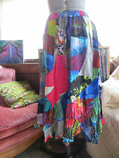 Hippie Boho Long Rayon Patchwork Swirl Maxi Skirt by Peaceful People
