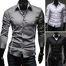 Handsome Mens Slim line Casual Dress Shirts Outdoor Business Tops Shirts 3Colors