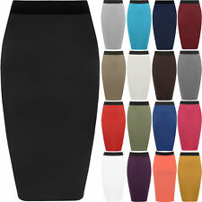 New Womens Plus Size Plain Bodycon Pencil Ladies Stretch Office Midi Skirt 16-26