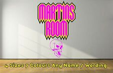Funky Personalised Skull Name Horror Decals Wall  Sticker Boys Girls PINK NWSPI