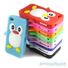 Cute 3D Penguin Style Soft Silicone Back Case Cover Skin For Iphone 4S 4GS 4 4G