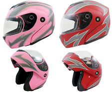 Flat Pink Red Flame Flip Up Full Face Motorcycle Helmet Street DOT ~S/M/L/XL