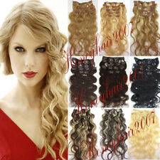 Full Head Clip in Human Hair Extensions100% any Length&Colors Body Wavy Curly