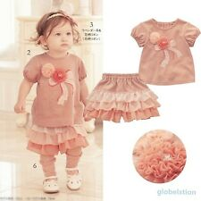 Princess Kids Girls Outfits Flowers T-shirts 2PCS Baby Tops+Ruffle Culottes 0-3Y