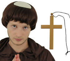 MONK WIG GOLD CROSS NECKLACE FRIAR TUCK RELIGIOUS FANCY DRESS COSTUME ACCESSORY