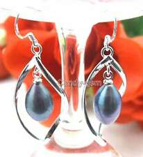 SALE Big 50*17MM Helix Dangle Earring & 8-10mm Black pearl silver plated-ear306