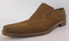 Men's Loake tan suede leather slip on shoes F fit LEON TAN SUEDE